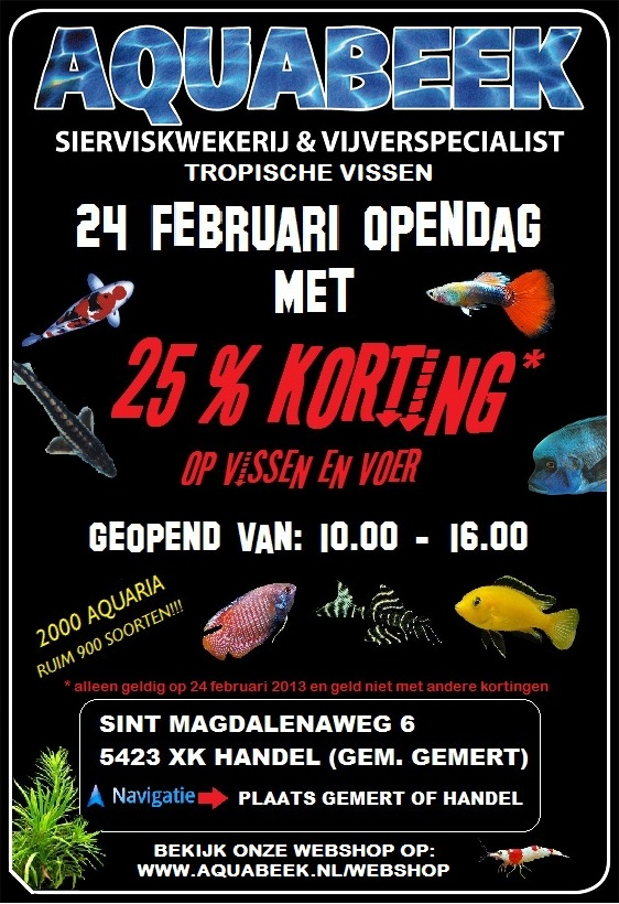 Aquabeek open dag 24 februari 25% korting